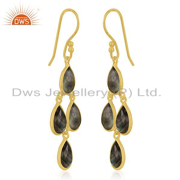 Exporter Gold Plated 925 Silver Labradorite Gemstone Earring Jewelry Manufacturer