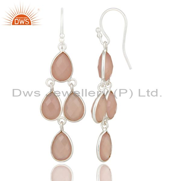Suppliers Handmade Sterling Silver Rose Chalcedony Gemstone Chandelier Earrings