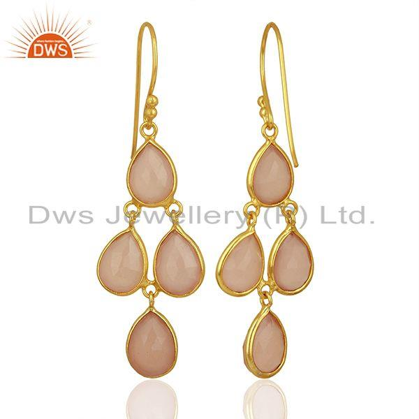 Wholesalers 18K Gold Plated Sterling Silver Handmade Dyed Chalcedony Gemstone Dangle Earring