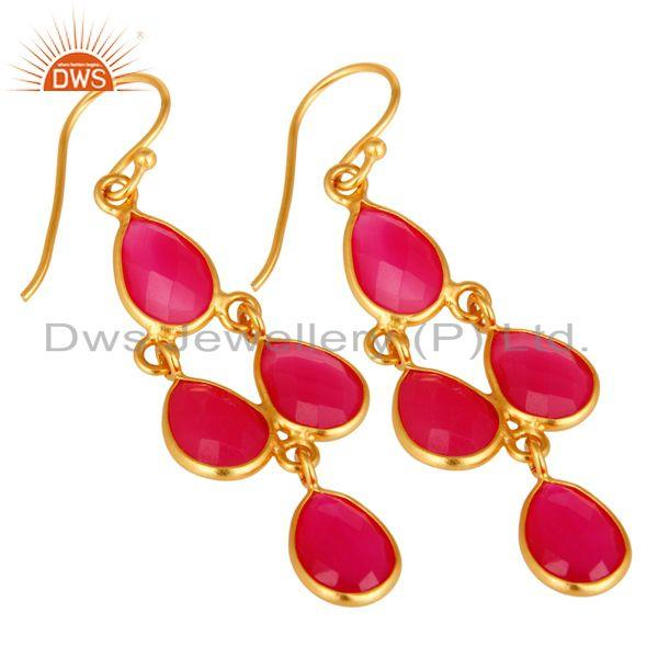 Wholesalers 18K Yellow Gold Plated Sterling Silver Pink Chalcedony Bezel Set Dangle Earrings