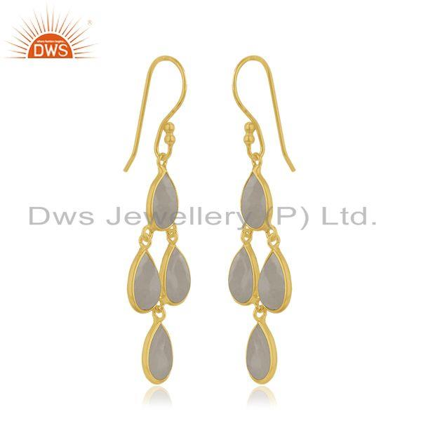 Exporter Designer Gold Plated Silver Rainbow Moonstone Earring Jewelry
