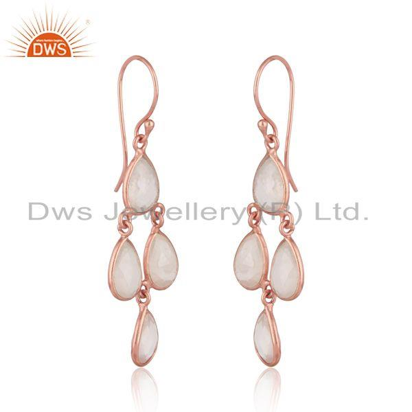 Handcrafted chandelier rose quartz earrings in rose gold on silver