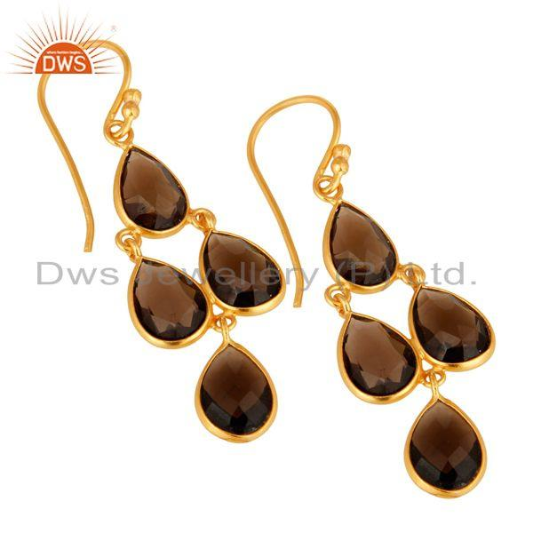 Wholesalers 14K Yellow Gold Plated Sterling Silver Bezel-Set Smoky Quartz Chandelier Earring