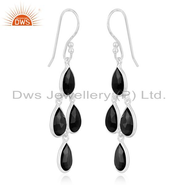 Exporter Black Onyx Gemstone 925 Sterling Fine Silver Earring Jewelry Manufacturer