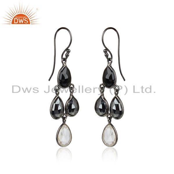 Onyx hematite gemstone black rhodium plated 925 silver earrings