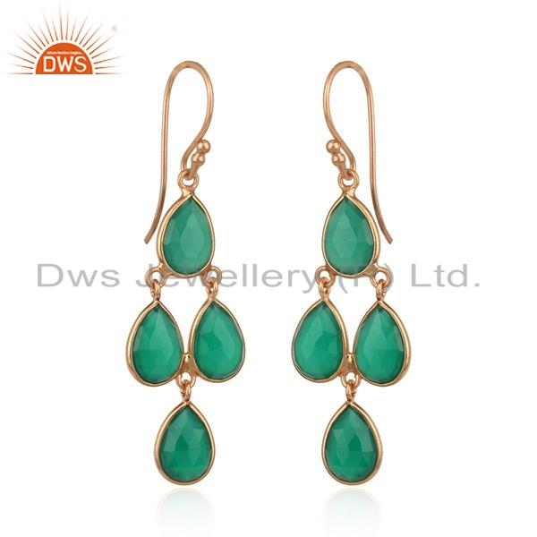 Exporter Natural Green Onyx Gemstone Rose Gold Plated Silver Designer Earrings
