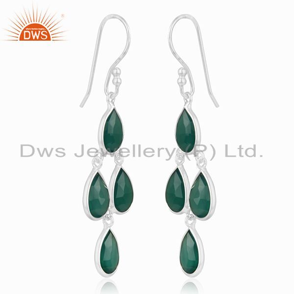 Exporter Green Onyx Gemstone Sterling Fine Silver Earrings Jewelry Manufacturer