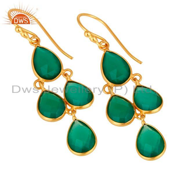 Wholesalers Gold Plated Sterling Silver Green Onyx Gemstone Designer Dangle Earrings