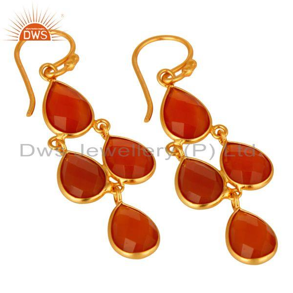 Wholesalers Faceted Natural Red Onyx Gemstone Dangle Earrings in 18K Gold On Silver 925