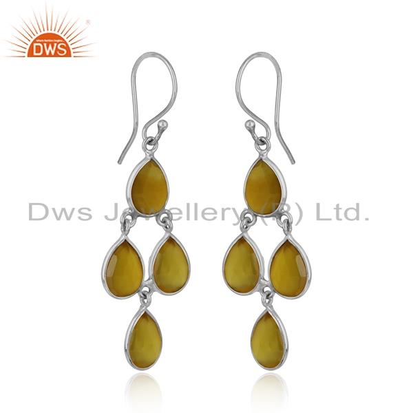 Handmade chandelier earring in silver 925 and yellow chalcedony