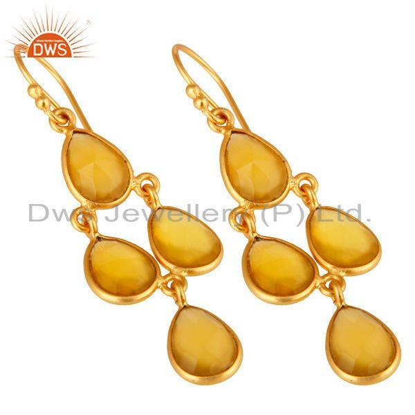 Wholesalers Gold Plated Sterling Silver Chalcedony Bezel-Set Chandelier Earrings