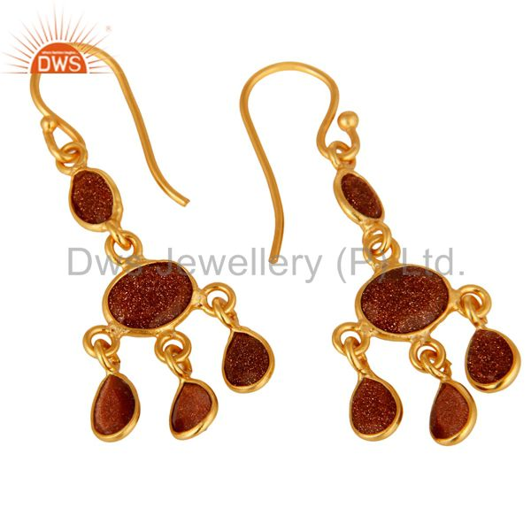 Exporter Handmade Red Sun Sitara Earrings Made In 18K Yellow Gold Over Sterling Silver