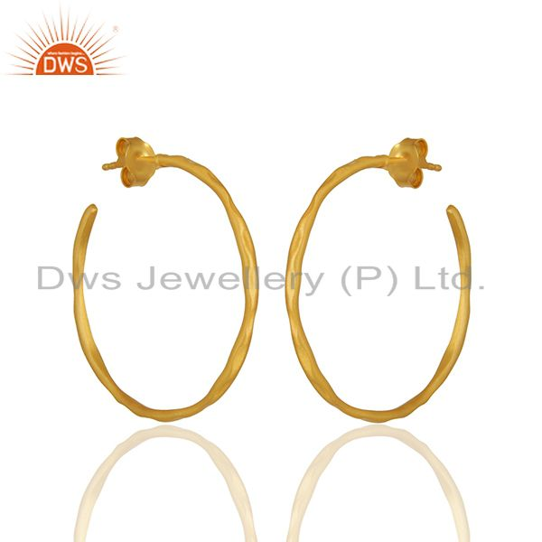 Exporter 22K Yellow Gold Plated Sterling Silver Hammered Circle Hoop Earrings