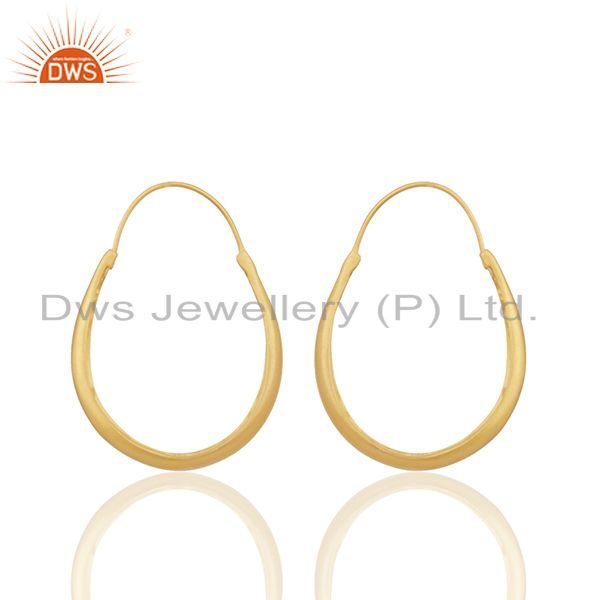 Exporter 24k Yellow Gold Plated Sterling Silver Circle Design Hoop Earrings