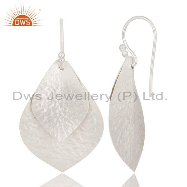 Suppliers 925 Sterling Silver Hammered Double Petals Designer Teardrop Earrings