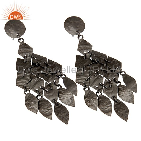 Exporter Oxidized Sterling Silver Hammered Petals Womens Chandelier Earrings
