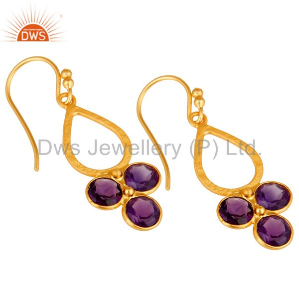 Wholesalers 18K Gold Plated and Amethyst Sterling Silver Handmade Dangler Earring