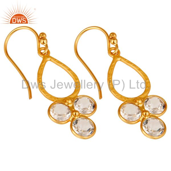 Wholesalers 18K Gold Plated 925 Sterling Silver Crystal Quartz Dangle Earrings Jewelry