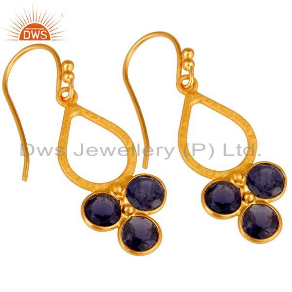 Wholesalers 18K Gold Plated 925 Sterling Silver Handmade Iolite Dangle Earrings Jewelry