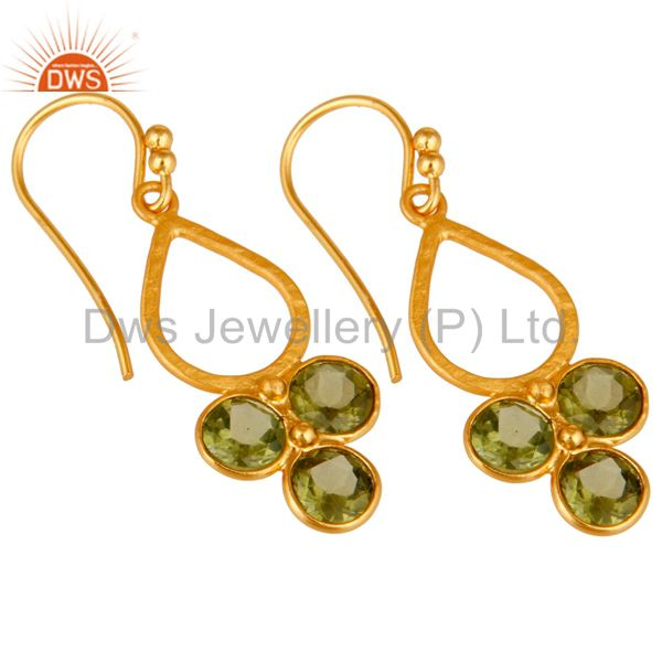 Wholesalers 18K Gold Plated and Peridot Sterling Silver Handmade Dangler Earring