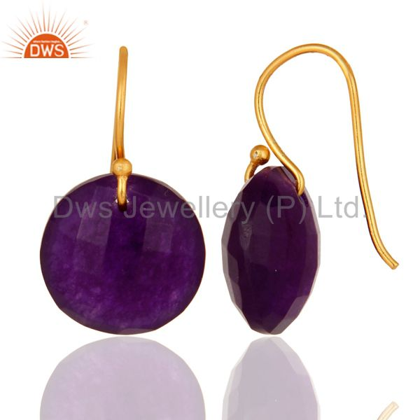 Faceted Purple Chalcedony Gemstone Drop Earrings From Jaipur India