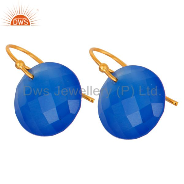 Wholesalers Faceted Dyed Blue Chalcedony Yellow Gold Plated Sterling Silver Hook Earrings