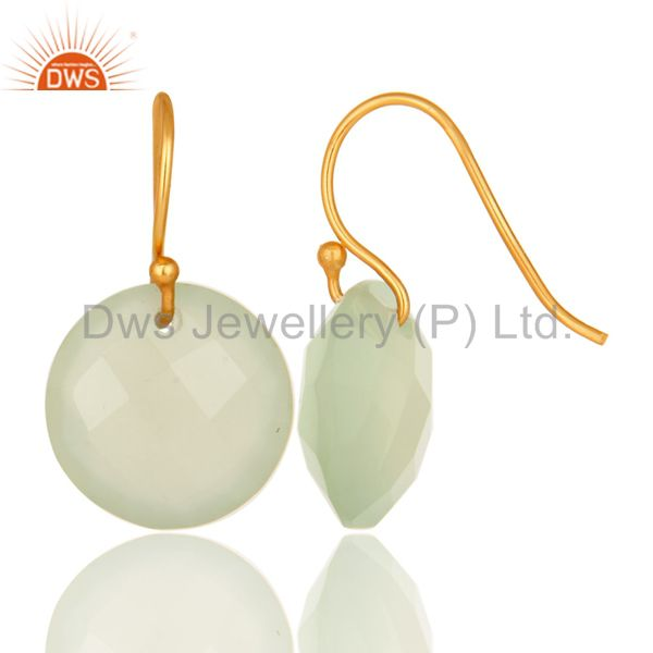 Wholesalers Faceted Dyed Chalcedony Yellow 18K Gold Plated Sterling Silver Hook Earrings