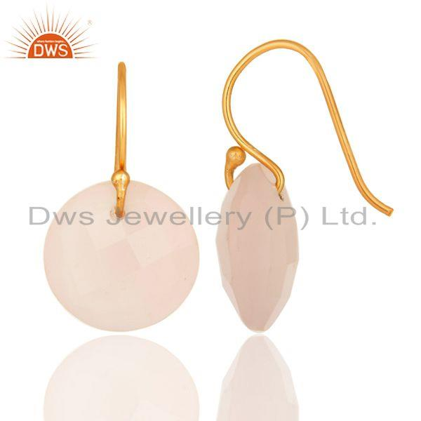 Exporter Faceted Rose Chalcedony 18K Gold Plated Sterling Silver Hook Earrings