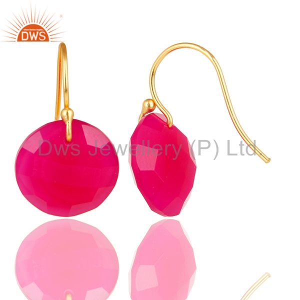 Suppliers 18K Yellow Gold Plated 925 Sterling Silver Dyed Chalcedony Hook Drops Earrings