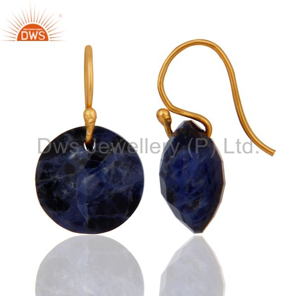 Exporter Natural Sodalite Gemstone 18K Yellow Gold Plated Sterling Silver Hook Earrings