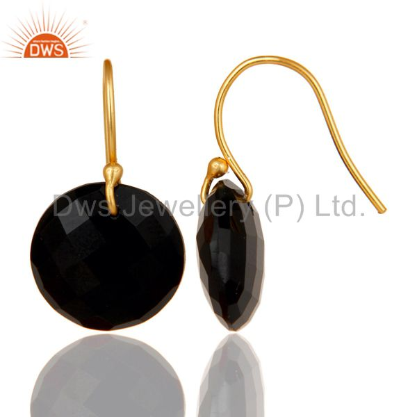 Wholesalers Black Onyx Faceted Round Shape Gemstone Dangle Earrings In 18K Gold On Silver