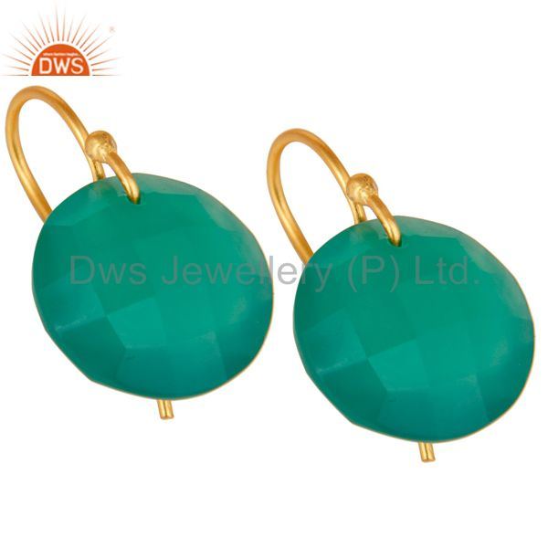Wholesalers Green Onyx Faceted Round Shape Gemstone Dangle Earrings In 18K Gold On Silver