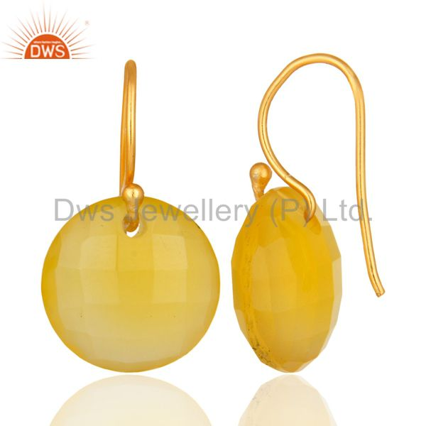 Suppliers Faceted Yellow Chalcedony Gemstone Gold Plated Sterling Silver Hook Earrings