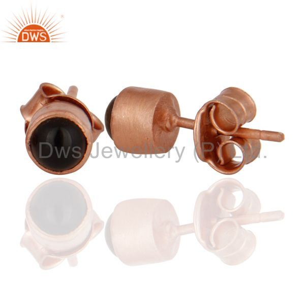 Exporter 18K Rose Gold Plated Sterling Silver Smoky Quartz Round Gemstone Stud Earrings