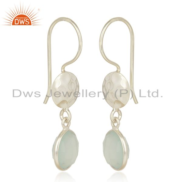 Suppliers Handmade Sterling Silver Aqua Chalcedony Glass Gemstone Dangle Earrings