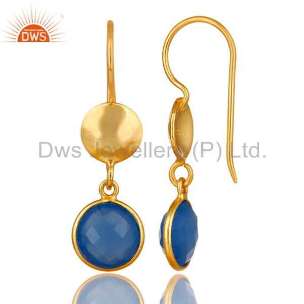 Wholesalers 18K Yellow Gold Plated Sterling Silver Blue Chalcedony Disc Dangle Earrings