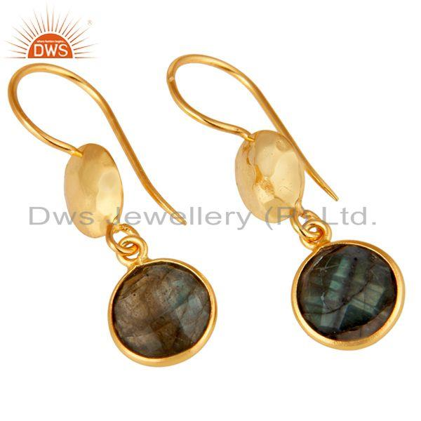 Wholesalers 18K Yellow Gold Plated Sterling Silver Labradorite Disc Dangle Earrings