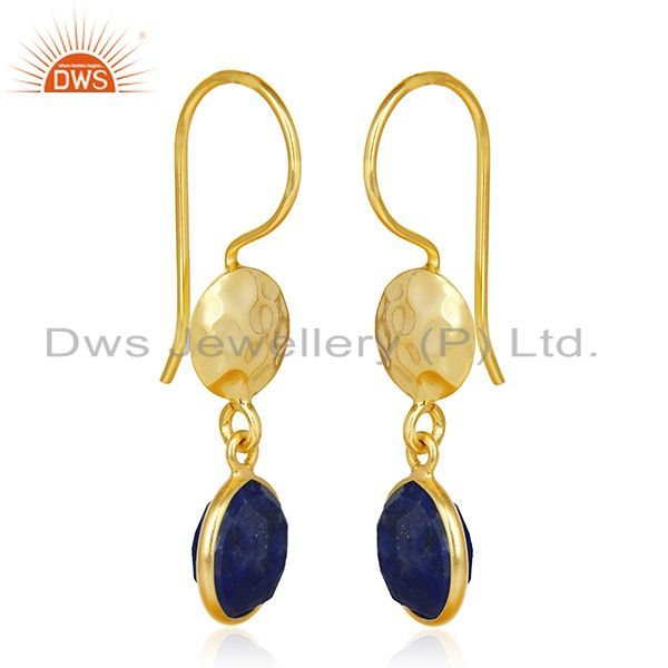 Suppliers 18K Yellow Gold Plated 925 Sterling Silver Lapis Lazuli Gemstone Dangle Earrings