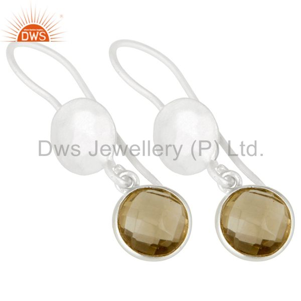 Wholesalers 18K Gold Plated Sterling Silver Lemon Topaz Gemstone Bezel Set Dangle Earrings