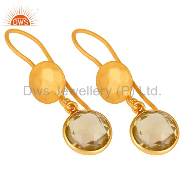 Wholesalers 22K Yellow Gold Plated Sterling Silver Lemon Topaz Gemstone Dangle Earrings