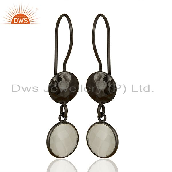 Exporter Oxidized Solid Sterling Silver White Moonstone Hammered Disc Dangle Earrings