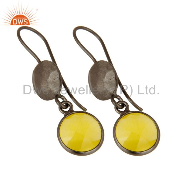 Wholesalers Oxidized Solid Sterling Silver Yellow Moonstone Bezel Set Dangle Earrings