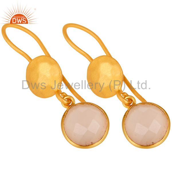 Suppliers 14K Gold Plated 925 Sterling Silver Dyed Chalcedony Bezel Set Drops Earrings