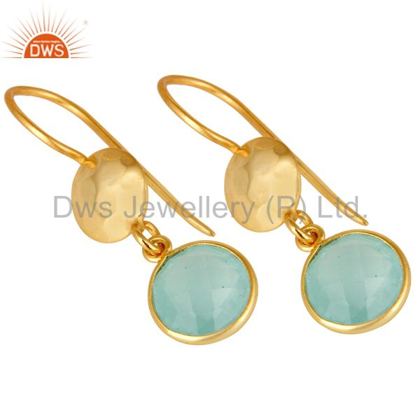 Wholesalers 22K Gold Plated Silver Aqua Glass Chalcedony Hammered Disc Dangle Earrings
