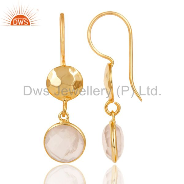 Suppliers 22K Gold Plated 925 Sterling Silver Rose Quartz Hammered Disc Dangle Earrings