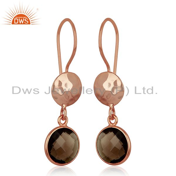 Suppliers 18K Rose Gold Plated Sterling Silver Smoky Quartz Disc Dangle Earrings