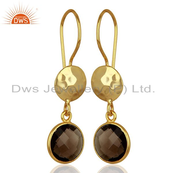 Exporter Smoky Quartz Gemstone Gold Plated Sterling Silver Earrings Wholesale