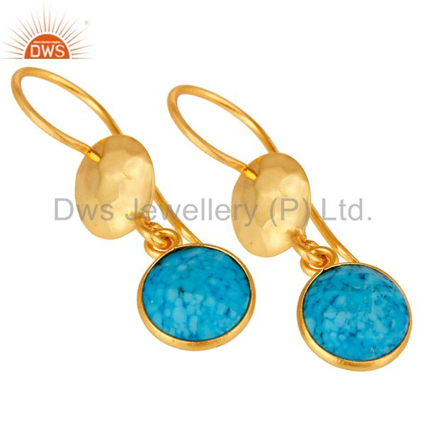 Wholesalers Turquoise Bezel Set Gemstone Dangle Earrings In 18K Gold Plated Sterling Silver