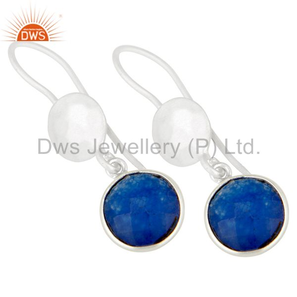 Wholesalers Handmade Sterling Silver Blue Aventurine Gemstone Bezel Dangle Earrings