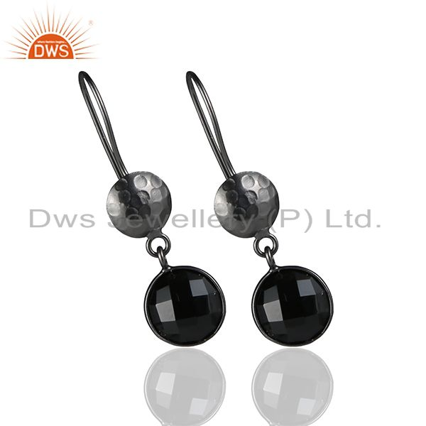 Exporter Oxidized Sterling Silver Black Onyx Gemstone Hammered Disc Dangle Earrings